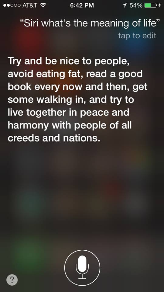 The Meaning of Life, according to Siri