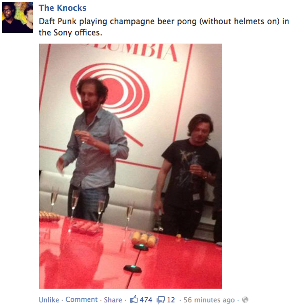 Daft Punk Unmasked Playing Champagne Pong. Carry On.